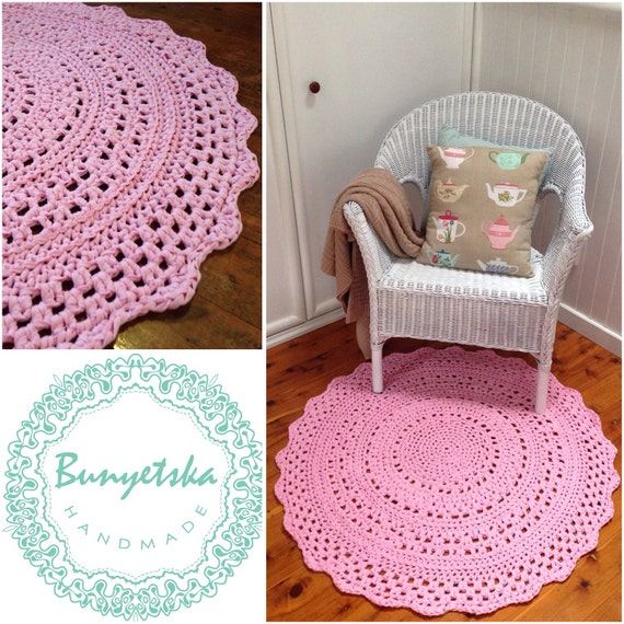 Handmade Crochet Rug Pink Rug Pink Carpet Nursery: Handmade Round Crochet Doily Floor Rug In Pastel Pink