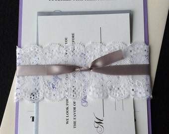 MOLLY - (100) Lace Wedding Invitations, Purple Wedding Invitation, Customizable