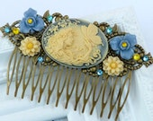Summer flower hair comb in blue-cream with bronze cameo elves, antique hair jewelry, cameo hair comb, bridal hair accessories, flower comb