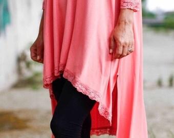 Womens Oversize Asymmetric Tunic/Pink Loose Blouse/Maxi Tunic/Extravagant Dress