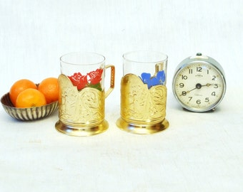 Vintage Russian Tea glass holder PODSTAKANNIK golden with a Glass - nice home decor or gift for tea lover