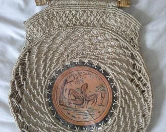 vintage deer bag with bamboo handles