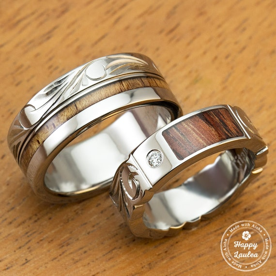 Pair of Titanium Wedding Bands with Koa Wood Inlay Hand Engraved with ...