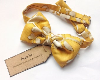 mens bow tie yellow silk, silk bow tie, yellow bow tie, floral bow tie,, mustard yellow