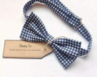 Gingham mens bow tie, mens bow tie blue, white bow tie, cotton bow tie