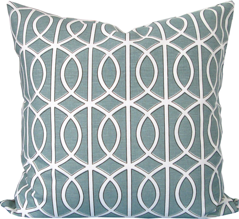 Jade Decorative Pillows : Jade Green and White Trellis Decorative Pillow Cover-Robert