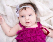 3 pc SET-  white/gray/ plum Romper- Baby Girl Rompers  - Lace Baby Romper / headband / barefoot sandals
