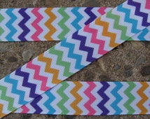 "Chevron Ribbon rainbow chevron ribbon 7/8"" 3yards blue orange yellow green pink chevron ribbon crafts supplies"