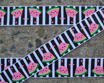 "3 yards Watermelon Ribbon 7/8"" Red and Green Grosgrain Ribbon Hair Bow Supplies"