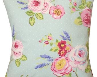 """Designer duck egg polka pink summer vintage chic floral rose cushion cover 16"""""""