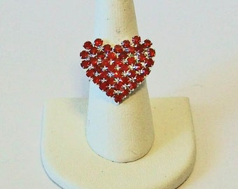 Full of Sparkle Red Rhinestone Heart Shape Fashion Ring Adjustable Band