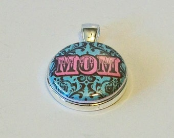 Light Pink and Blue Damask Mom Mother's Day Gift Round Silver Pendant