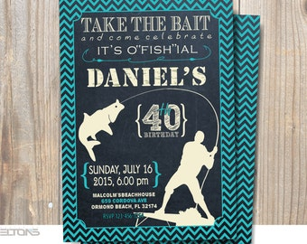Fishing Birthday Party Invitation Printable /  30th - 40th - 50th - 60th Chalkboard Theme Party Invitation / DIY