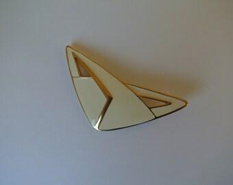 Trifari Brooch Vintage Brooch Estate Jewelry Brooch Pin Ivory White Enamel Gold Tone Geometric