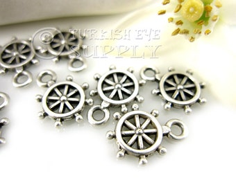 25 pc Tiny Wheel Charms, Antique Silver Plated Mini Ship Wheel Turkish Jewelry, Turkish Findings