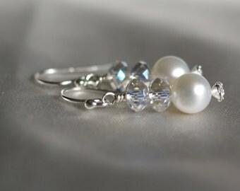 Pearl earrings, Swarovski elements dangle earrings, pearl drop earrings, silver shepherd hook ear wires, bridal earrings, gift for her