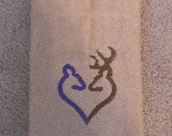 Embroidered ~Purple BROWNING DEER HEART~ Kitchen Bath Hand Towel