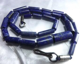 """16""""Lapiz Lazuli  Deep Blue Natural  Graduated Matte Finished Tubes  8-16MM Afghanistan LP28"""