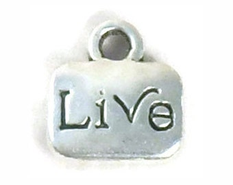 BULK 75 Silver Live Affirmation Charm Inspiration Pendant 11x10mm by TIJC SP0954B