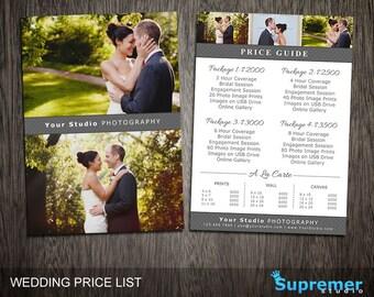 Wedding Price List Template - Wedding Photography Pricing Template Guide Photoshop - Wedding Marketing Templates - Flyer Postcard PL025