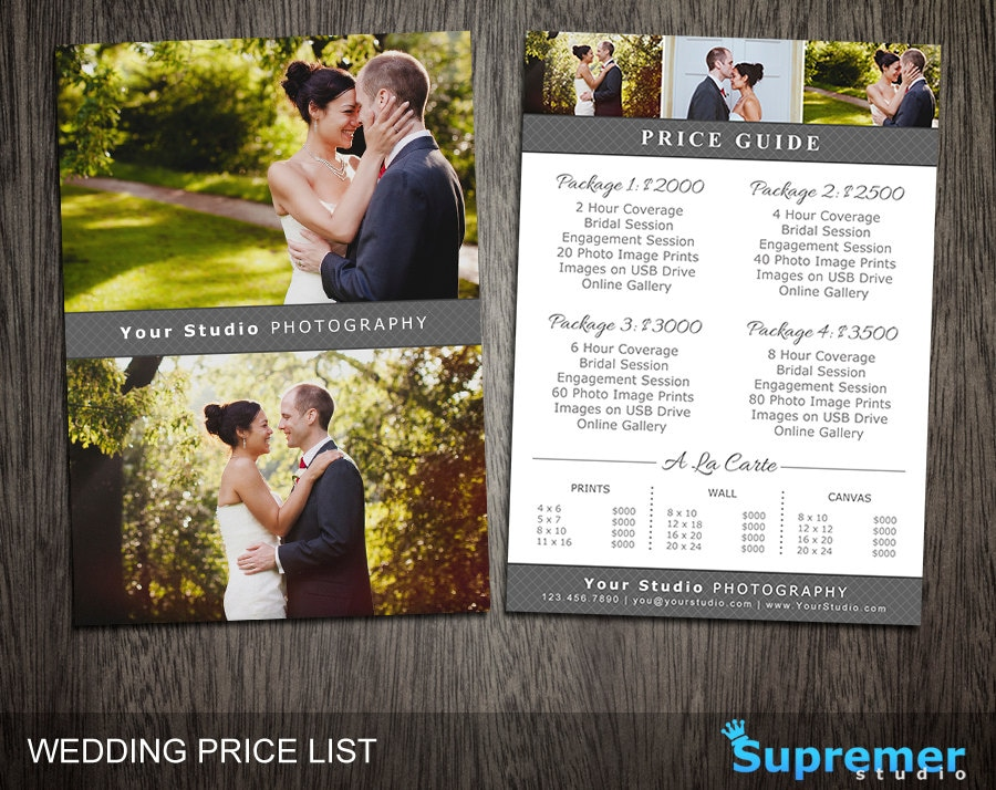 Wedding Price List Template Wedding Photography Pricing