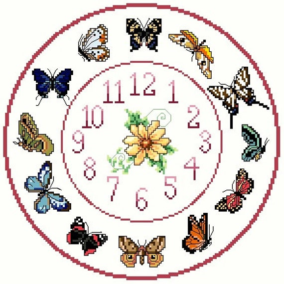 Butterfly Cross stitch Clock Chart / Pattern