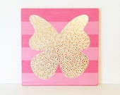 Butterfly Art - Pink and Gold Nursery Decor  - Pink Butterfly - Butterfly Wall Art - Butterfly Decor - Butterfly Painting - Gold Nursery Art