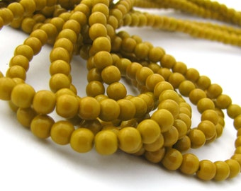 Opaque Goldenrod 4mm Smooth Round Czech Glass Beads 100pc #2813