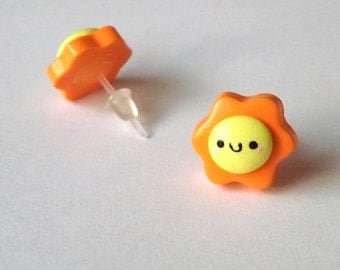 Happy Sun Stud Earrings - Kawaii Earrings - Polymer Clay Studs - Hypoallergenic Posts - Plastic Posts for Sensitive Ears