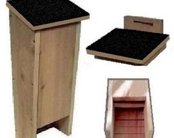 Ark Workshop MEDIUM Shingled Bat House shelter box proven for bat success and natural insect mosquito control BLK