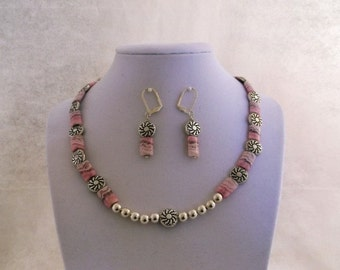 In the Pink 17 inch One of a Kind Necklace an Earrings Set are made of Pink Rhodochrosite Oblong Beads Engraved Silver Disks