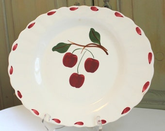 Hand Painted Cherry Platter Vintage Kitchen Decor Platter Serving Dish Vintage Wall Hanging Cherry Wall Plate Vintage Pottery