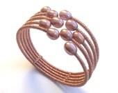 Japanese rose silk pink pearl cuff bracelet