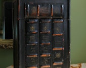 Box with Hinged Lid.  Wooden Storage Box with Books Edges on Front Wall. Tall Box with Lock and  Handle for Storing Tall Items or Bottles.