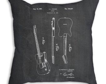 Fender Broadcaster Electric Guitar Pillow, Guitarist Gift, Guitar Bedding, Music Room Decor, Guitar Blueprint, Music Pillow, PP0121