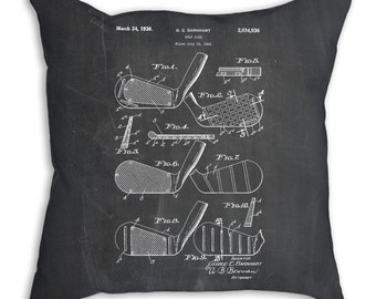 Golf Club Faces 1931 Patent Pillow, Golf Gifts for Women, Golf Pillow, Golf Dad, Golf Bedding, Golf Club Art, PP0004
