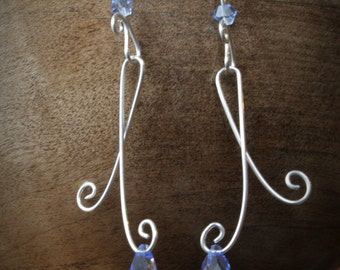 EARRINGS: Sapphire Crystal, Sterling Silver, Handcrafted Artisan Quality