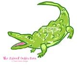 Preppy Alligator clip art - Original Art download, whimsical alligator, preppy clip art, pink and green alligator