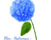 Blue Hydrangea Clip art - Original Art, Hydrangea painting, hydrangea clip art, hydrangea graphic