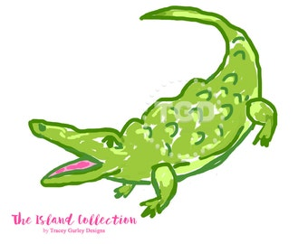 Preppy Alligator clip art - Original Art download, whimsical alligator, preppy clip art, pink and green alligator