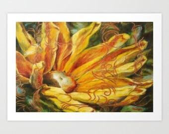 Daisy Flower Art Print, Fine Art Print, Flower Print, Acrylic and Mixed Media Giclée Print, Choose Size, Free Shipping