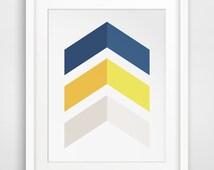 Navy and Mustard, Chevron Wall Decor, Wall Prints, Blue Yellow Art, Chevron Prints, Printable Art, Yellow and Blue Wall Prints