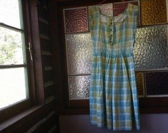 Summer vintage green yellow white plaid cotton dress size 8