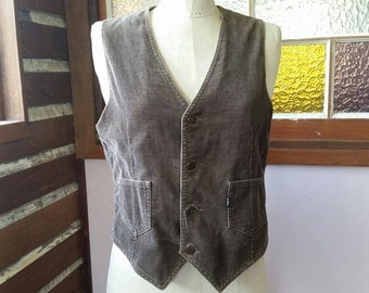 Vintage seventies brown cord  Levis vest size small