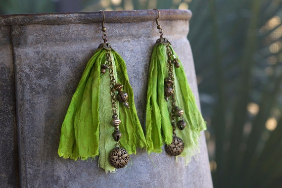 Green sari silk and upcycled silk earrings with dangles