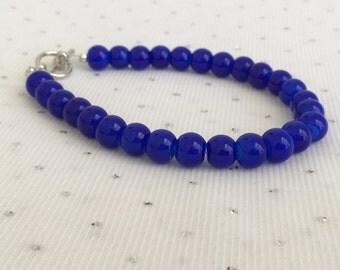 Dark Blue Beaded Bracelet, Dark Blue Wedding Jewelry, Bridesmaid Gift, Blue Bridesmaid Jewelry, Blue Beaded Jewelry