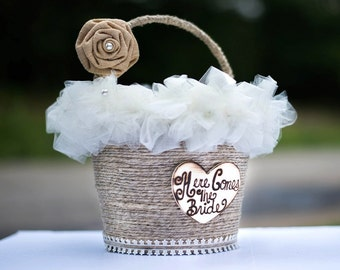 Flower Girl Pail - Wedding Decoration - Tin Wedding Here Comes The Bride Basket - The Smilin Bride -  Burlap Wrapped Basket