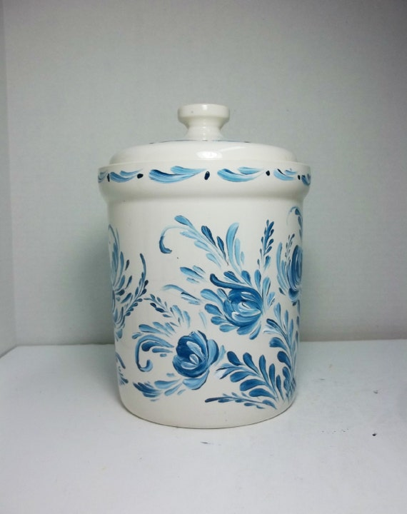 blue and white kitchen canister food storage jar stoneware