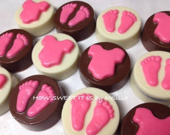 Baby Onesie/Baby Feet Chocolate/Vanilla Covered Double Stuffed Oreos - baby shower, mommy to be