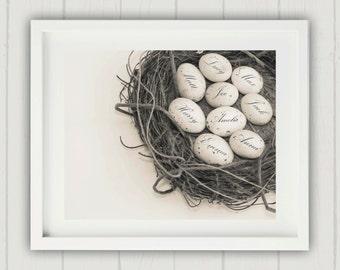 Mothers Day Gift, Family Nest Print, Thanksgiving Gift, Mom Gift, Alternative Family Tree, Egg in Nest Print, Family Nest, Gift for Mom